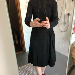 Veronique Branquinho Black Wool A-line Wrap Skirt